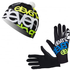 Eleven set bežecké rukavice Fluo Black + čiapka Sven Fluo Black