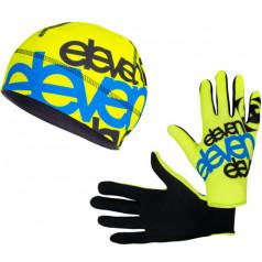 Eleven set bežecké rukavice Fluo F11 + čiapka F11 Blue