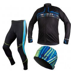 Bežkársky set bunda Berg Line Blue + elasťáky + čiapka