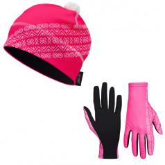 Bežecké rukavice + čiapka čičmanský vzor ružová