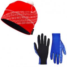 Bežecké rukavice + čiapka čičmanský vzor Červená
