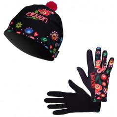 Bežecké rukavice + čiapka Folklor čierna