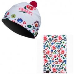 Multifunkčná šatka + čiapka Folklor biela