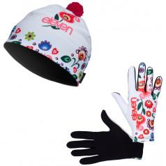 Bežecké rukavice + čiapka Folklor biela