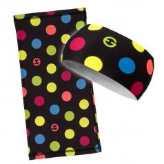 ELEVEN set Dots black color multifunkčná šatka + čelenka